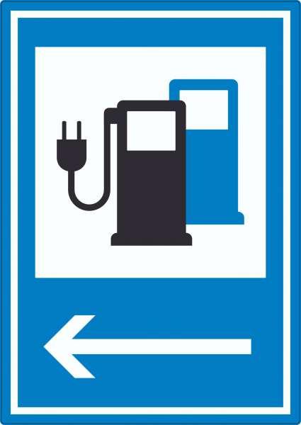 Stromtankstelle 365-65 Pfeil links Symbol Aufkleber