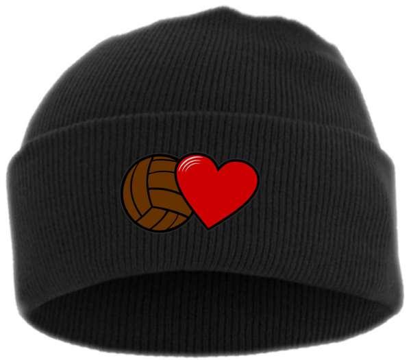 Fussball und Herz Umschlagmütze – Bestickt - Mütze mit breitem Umschlag