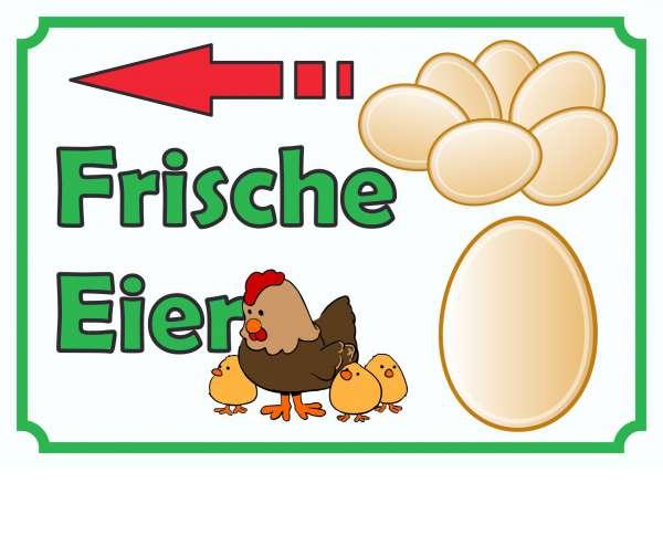 Verkaufsschild Schild Eier links