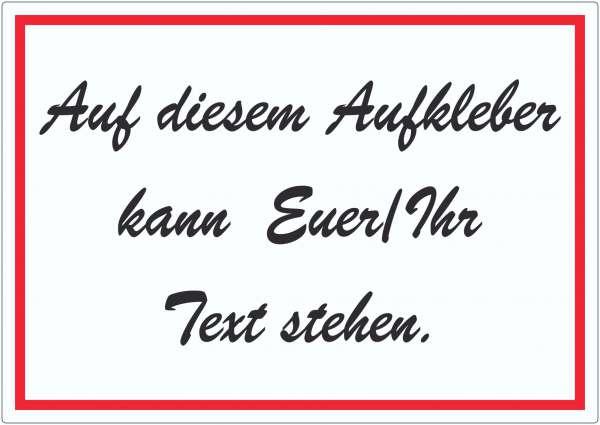 Schreibschrift Aufkleber mit Wunschtext waagerecht Text schwarz weiss rot