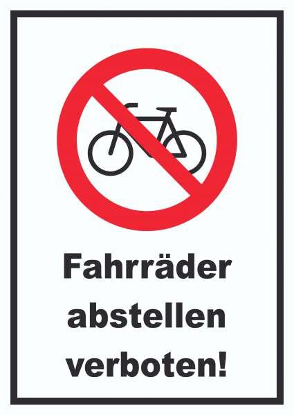 Fahrräder abstellen verboten Schild