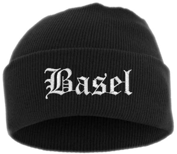 Basel Umschlagmütze - Altdeutsch - Bestickt - Mütze mit breitem Umschlag