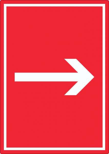 Richtungspfeil rechts Aufkleber hochkant weiss rot Pfeil
