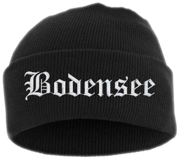 Bodensee Umschlagmütze - Altdeutsch - Bestickt - Mütze mit breitem Umschlag