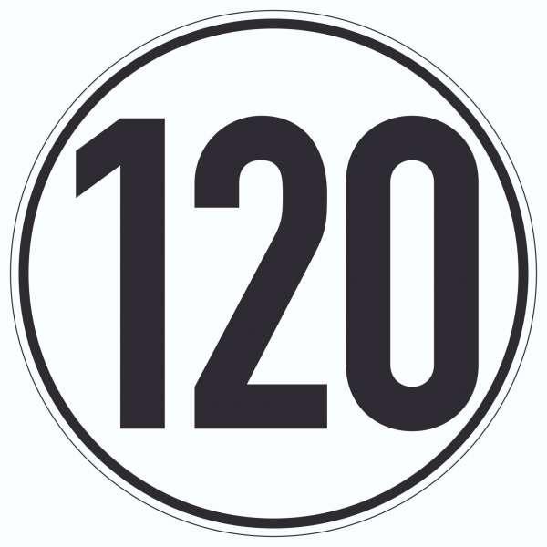 120km/h Geschwindigkeit Aufkleber Kreis
