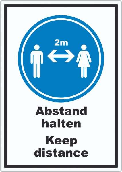 Abstand halten Keep distance Symbol und Text Aufkleber