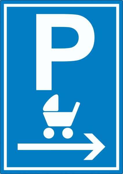 Kinderwagen Parkplatz Aufkleber mit Pfeil nach rechts