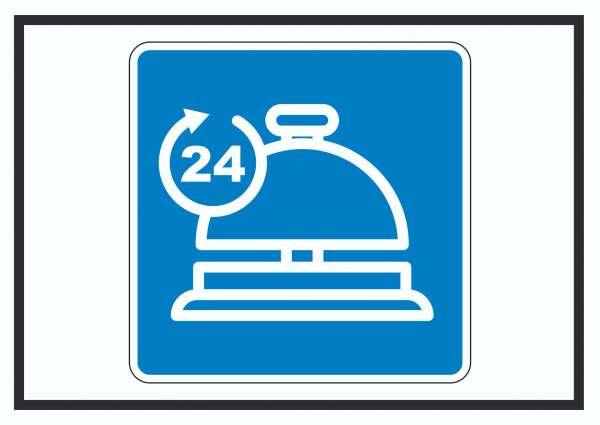 24H Service Schild mit Symbol