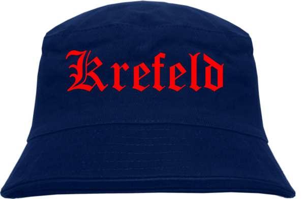 Krefeld Fischerhut - Dunkelblau - Roter Druck - Bucket Hat