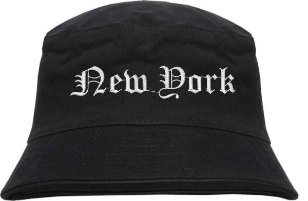 New York Fischerhut - Altdeutsch - bestickt - Bucket Hat Anglerhut Hut