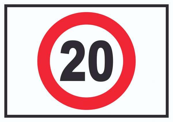 Tempo 20 km/h Geschwindigkeitsbegrenzung Schild Symbol
