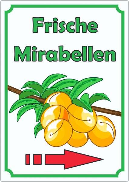 Frische Mirabellen Aufkleber Hochkant mit Pfeil rechts