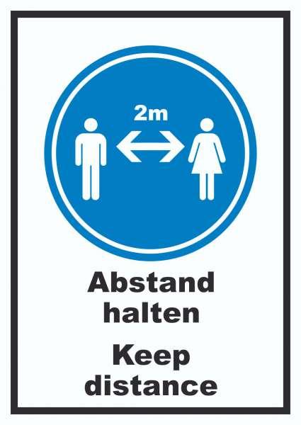 Abstand halten Keep distance Symbol und Text Schild