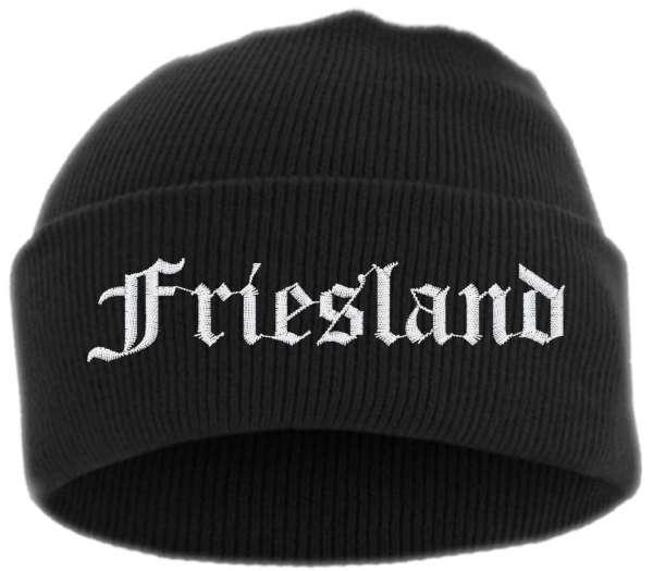Friesland Umschlagmütze - Altdeutsch - Bestickt - Mütze mit breitem Umschlag