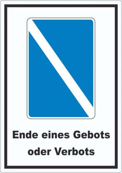 Ende eines Gebots oder Verbots Symbol und Text Aufkleber