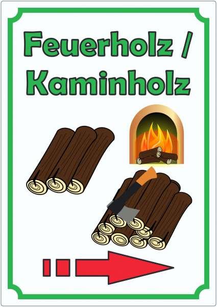 Werbeaufkleber Aufkleber Feuerholz Hochkant mit Pfeil rechts