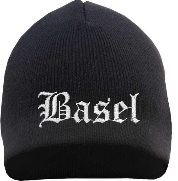 Basel Beanie Mütze - Altdeutsch - Bestickt - Strickmütze Wintermütze