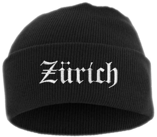 Zürich Umschlagmütze - Altdeutsch - Bestickt - Mütze mit breitem Umschlag