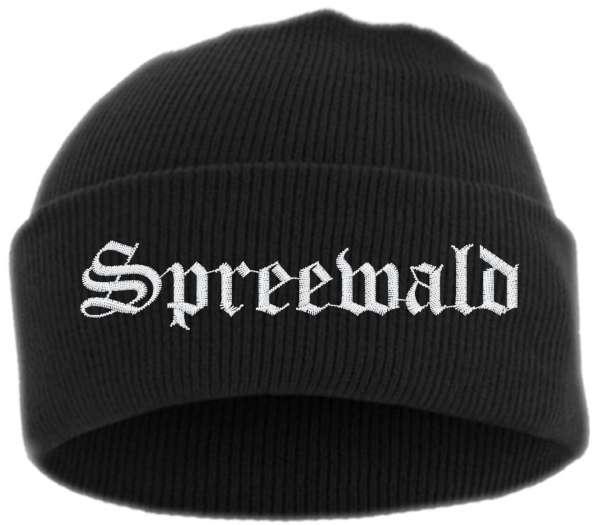 Spreewald Umschlagmütze - Altdeutsch - Bestickt - Mütze mit breitem Umschlag