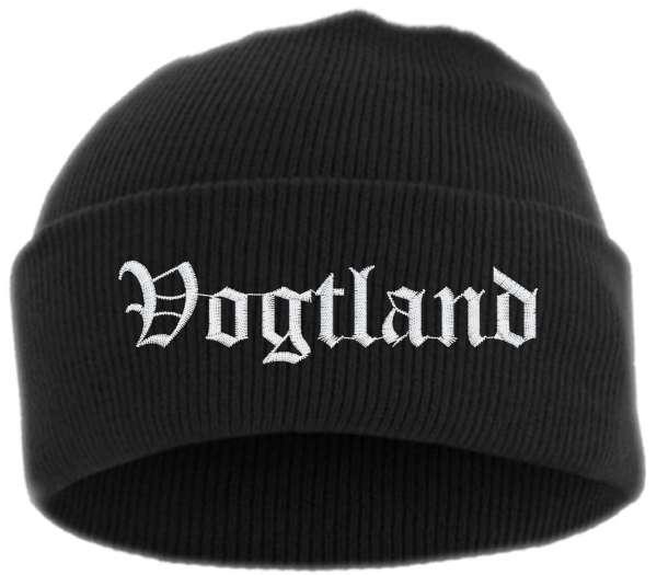 Vogtland Umschlagmütze - Altdeutsch - Bestickt - Mütze mit breitem Umschlag