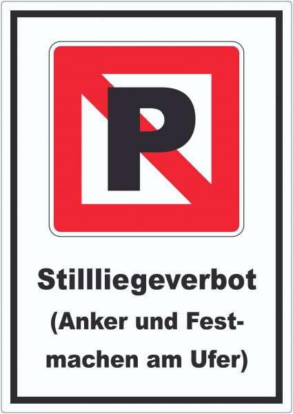 Liegeverbot für Wasserfahrzeuge Symbol und Text Halten verboten