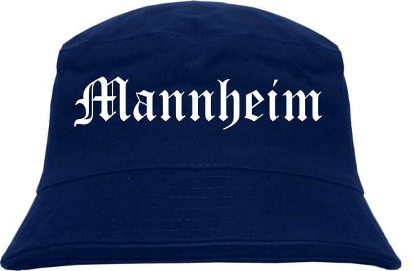 Mannheim Fischerhut - Dunkelblau - Altdeutsch - bedruckt - Bucket Hat Anglerhut Hut