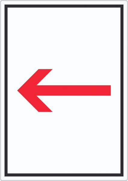 Richtungspfeil links Aufkleber hochkant rot weiss schwarz Pfeil