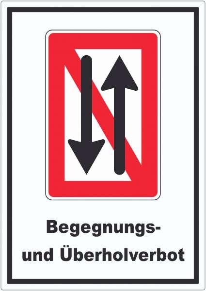 Begegnen und überholen verboten Symbol und Text Aufkleber