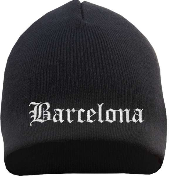 Barcelona Beanie Mütze - Altdeutsch - Bestickt - Strickmütze Wintermütze