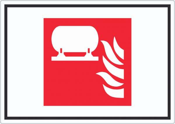 Fest eingebaute Feuerlösch-Einrichtung Symbol Aufkleber