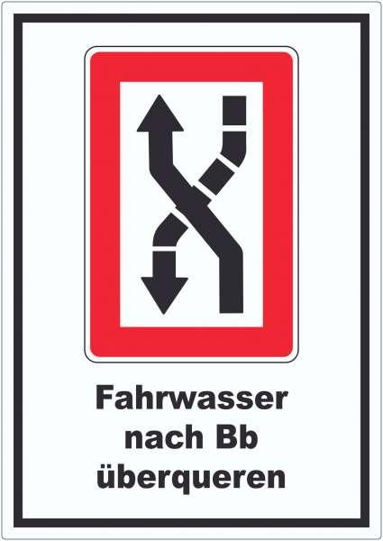 Fahrwasser nach Backbord zu überqueren Symbol und Text Aufkleber