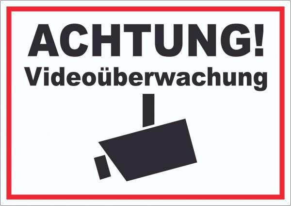 Achtung Videoüberwachung Kameraüberwachung Aufkleber