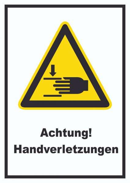 Achtung Handverletzungen Schild