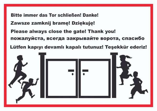 Tor schließen Kindergarten mehrsprachig Schild