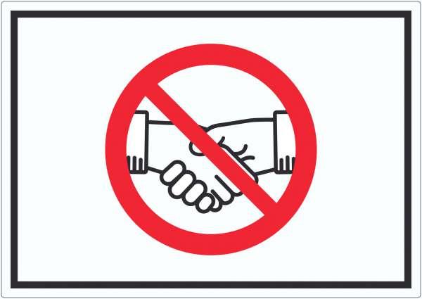 Handschlag verboten Aufkleber kein Händeschütteln Symbol Aufkleber Aufkleber