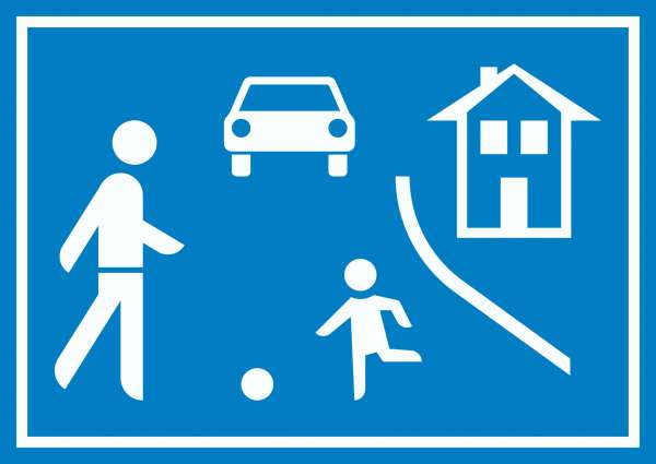 Spielstraße Schild Verkehrsberuhigung