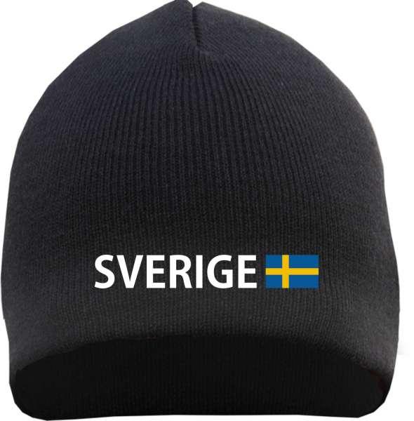Sverige Beanie Mütze - Altdeutsch - Bestickt - Strickmütze Wintermütze