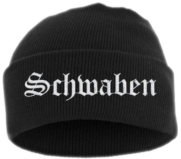 Schwaben Umschlagmütze - Altdeutsch - Bestickt - Mütze mit breitem Umschlag