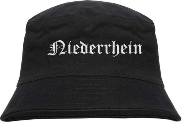 Niederrhein Fischerhut - Altdeutsch - bestickt - Bucket Hat Anglerhut Hut