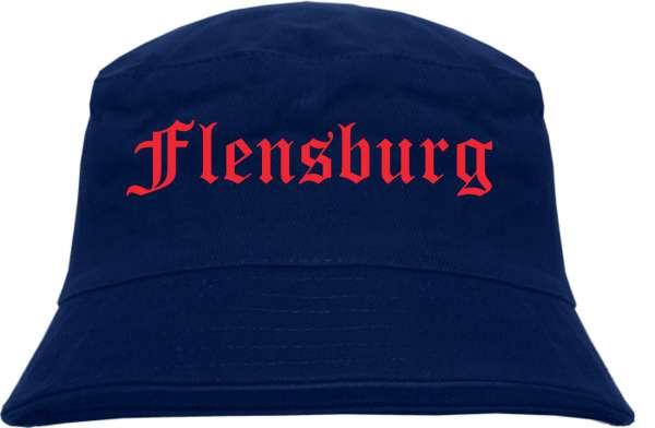 Flensburg Fischerhut - Dunkelblau - Roter Druck - Bucket Hat
