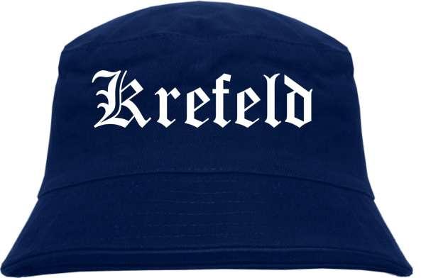 Krefeld Fischerhut - Dunkelblau - Altdeutsch - bedruckt - Bucket Hat Anglerhut Hut