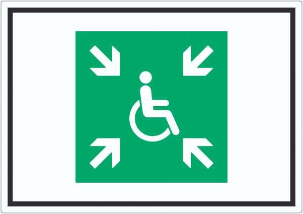 Sammelplatz für Menschen mit Behinderung Symbol Aufkleber