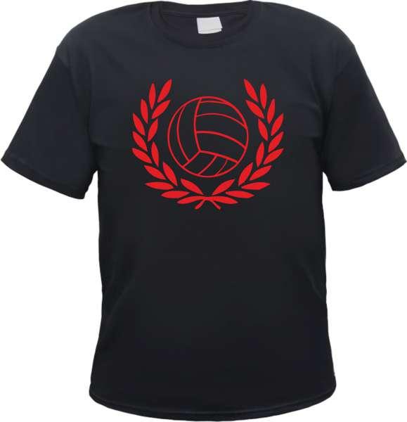 Lorbeerkranz und Fussball Herren T-Shirt - Tee Shirt Roter Aufdruck