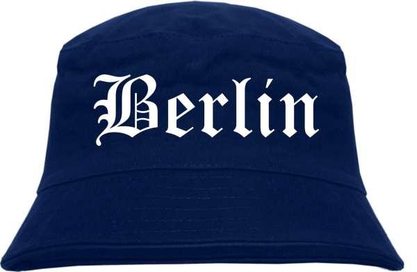 Berlin Fischerhut - Dunkelblau - Altdeutsch - bedruckt - Bucket Hat Anglerhut Hut