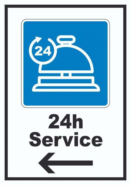 24H Service Schild mit Pfeil links