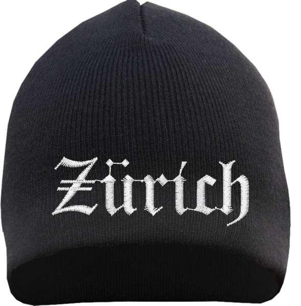 Zürich Beanie Mütze - Altdeutsch - Bestickt - Strickmütze Wintermütze