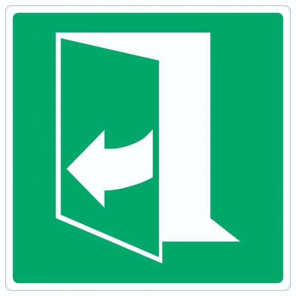 Tür öffnet durch Ziehen auf der linken Seite Aufkleber Quadrat