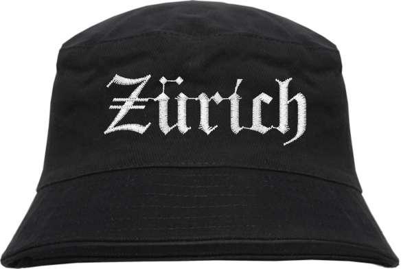 Zürich Fischerhut - Altdeutsch - bestickt - Bucket Hat Anglerhut Hut