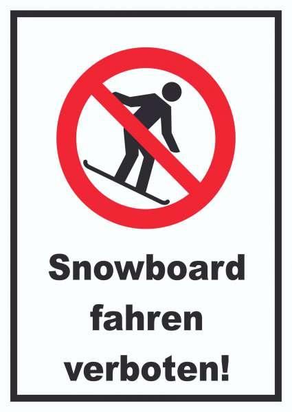 Snowboard fahren verboten Schild