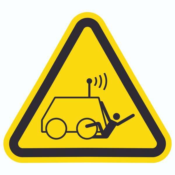 Warnung vor Überrollen durch ferngesteuerte Maschine Symbol Aufkleber Dreieck